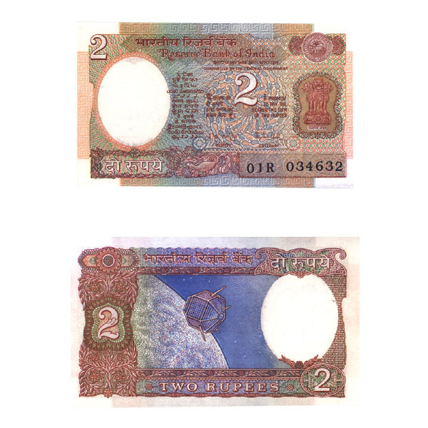 2 Rupees Note of R. N. Malhotra 1989