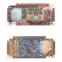 10 Rupees Note of 1985- R. N. Malhotra- B inset