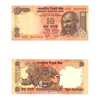 10 Rupees Note of 2006- Y. V.  Reddy- L inset