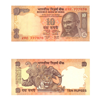 10 Rupees Note of 2007- Y. V.  Reddy- M inset