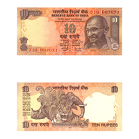 10 Rupees Note of 2007- Y. V.  Reddy- R inset