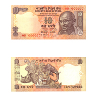 10 Rupees Note of 2008- D. Subbarao- without inset