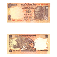 10 Rupees Note of 2011- D. Subbarao- P inset