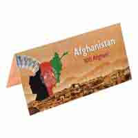 Afghanistan 100 Afghani Description Card  with original Banknote