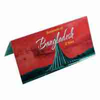 Bangladesh 2 Taka Description Card with Original Banknote