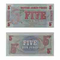 British Armed forces Currency Note 5 New Pence