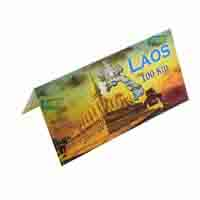 Laos 100 Kip Description Card with original Banknote