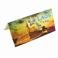 Laos 5 Kip Description Card with original Banknote