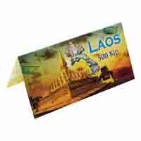 Laos 500 Kip Description Card with original Banknote