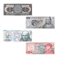 Set of Mexican Currency Note Peso