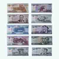Set of North Korean Foreign Currency Notes