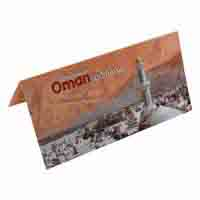 Oman 100 Baisa Description Card with Original Banknote
