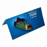 Peru 100 Inti Description Card with Original Banknote