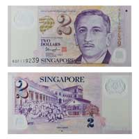 Singapore Currency Note 2 Dollar