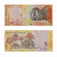 Venezuela 5 Cinco Bolivares Note