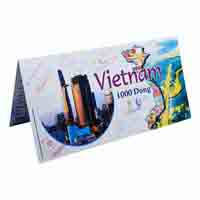 Vietnam 1000 Dong Description Card With Original Banknote