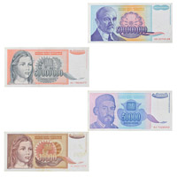 Set of 8 Yugoslav Dinar notes