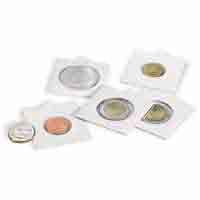 Lighthouse MATRIX Coin Holders (Coin Flips) - White - inside 20mm Self - adhesive - Pack of 100