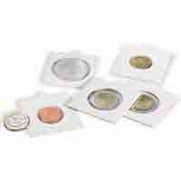 Lighthouse MATRIX Coin Holders (Coin Flips) - White - inside 30mm - Self - adhesive - pack of 100