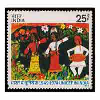 Unicef in India Stamp