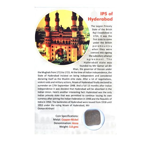 Indian Princely State of Hyderabad Coin - Anna