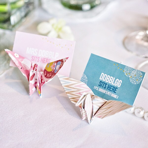 origami place card holders for crafty weddings
