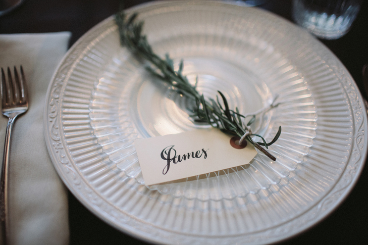 fall wedding place card holders. herb sprig place card decor - for botanical weddings fall wedding holders