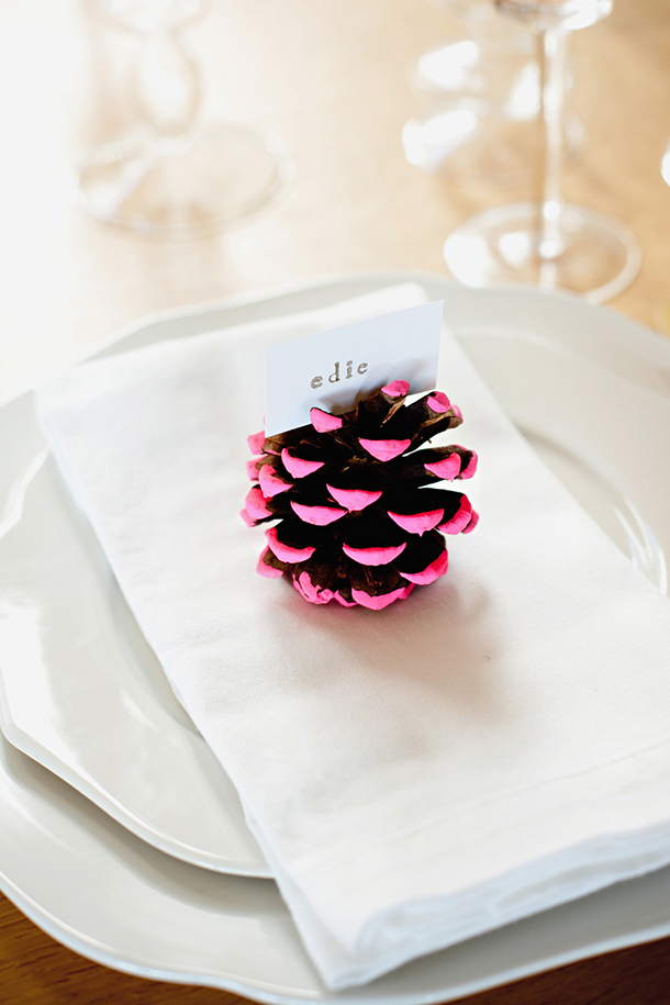 pine cone place card holders for rustic weddings