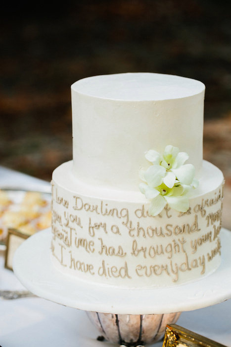 Wedding cake with artistic edible words