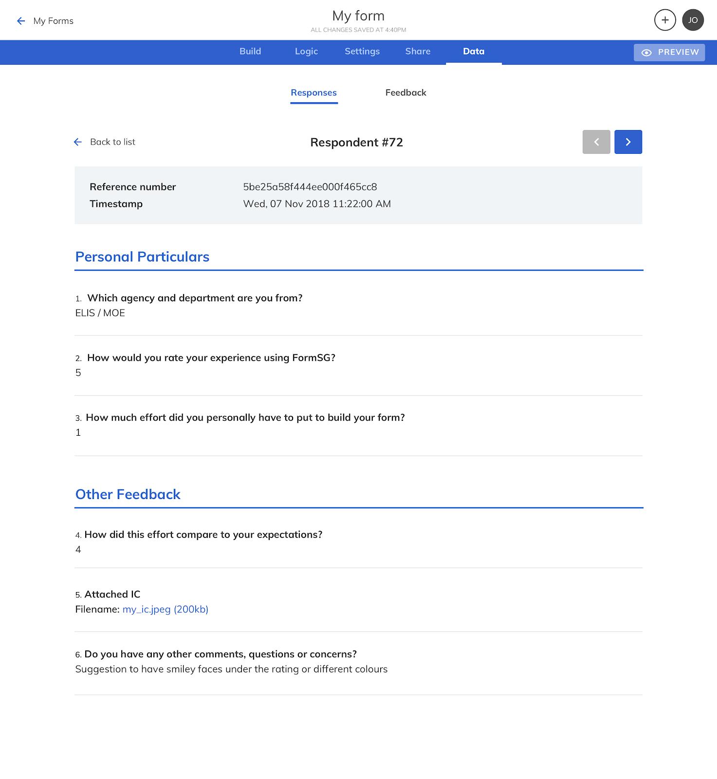FormSG FAQ Storage Click Response