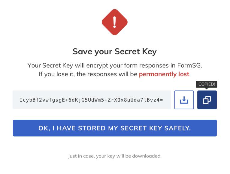 FormSG FAQ Storage Download Key