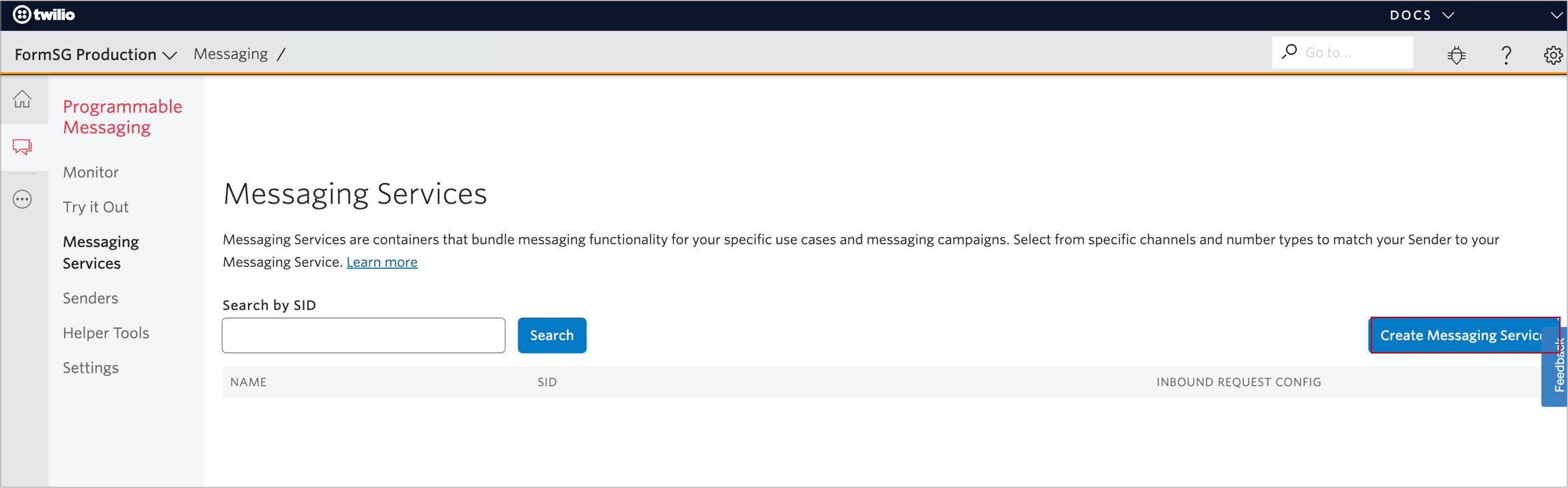 Create Messaging Service