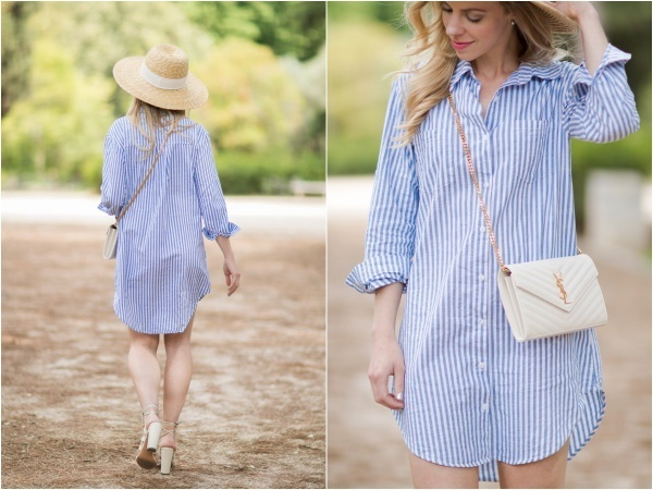 blue-and-white-striped-shirt-dress-ysl-white-monogram-chain-wallet-clutch-shirt-dress-with-straw-hat-outfit