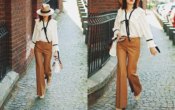 5023320_fedora_hat__camel_flared_pants_trousers__ruffle_top__scarf__white_crossbody_bag__beige_pumps__dior_sunglasses__cute_autumn_outfit_idea__andreea_birsan__18