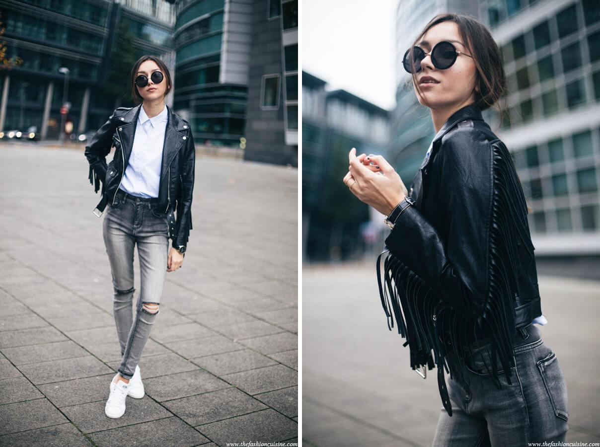 áo thun, quần jeans, áo khoác da