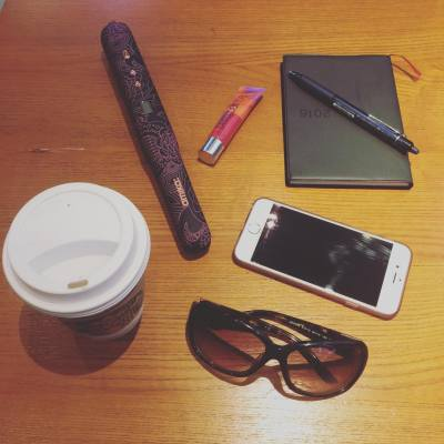I love my morning essentials... #movos #wirelessstyler #starbucks #sunglasses #iphone #notebook #lipbalm