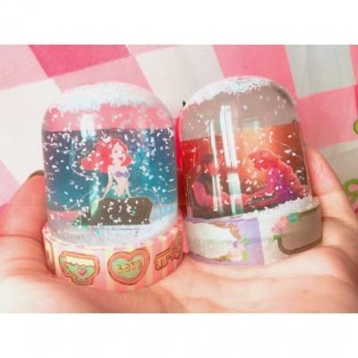 DIY 扭蛋公主飄雪水晶球~浪漫又好玩!3分鐘完成❤️配上自己的粉色MT更有少女味✨ #黑仔抽不到灰姑娘 #DIY #SnowGlobe