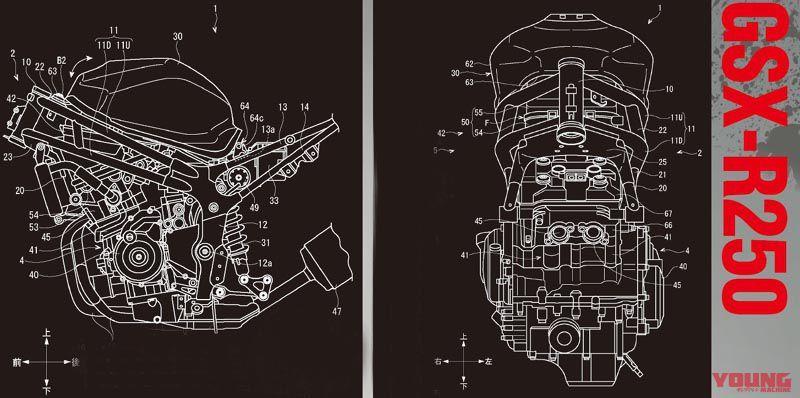 Desain Paten Mesin dan Sasis GSX-R250 dari Young Machine