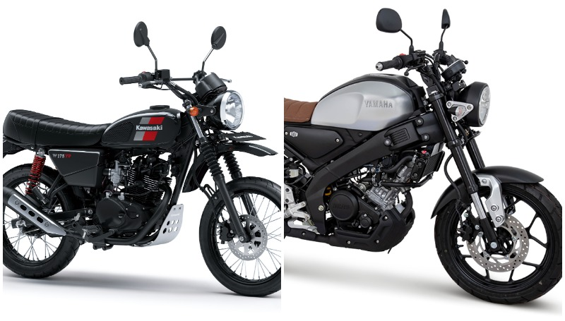komparasi motor retro scrambler murah yamaha xsr155 vs kawasaki w175tr