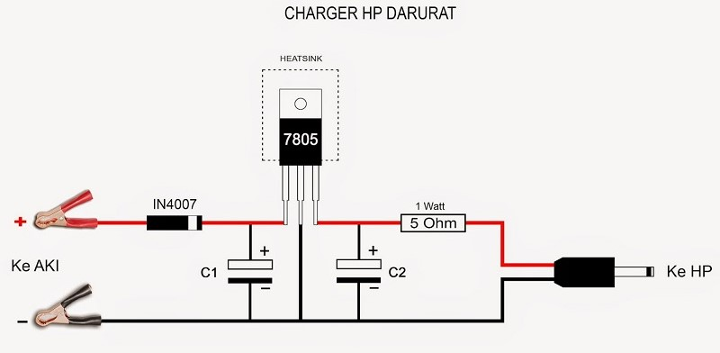Merangkai komponen charger hp di motor