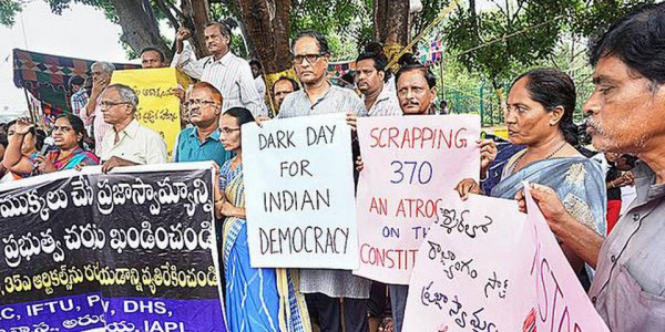 Left parties protest abrogation of Article 370