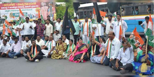 Silent protests staged by RTC workers in Warangal