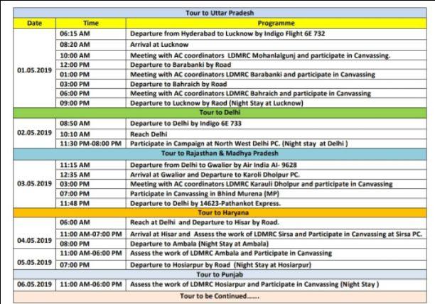 My tour Schedule