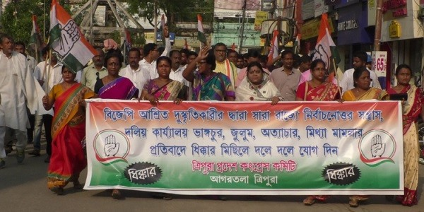 Cong takes to streets seeking fresh election in Tripura West constituency