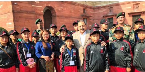 Children from Manipur call on DoNER Minister in Delhi