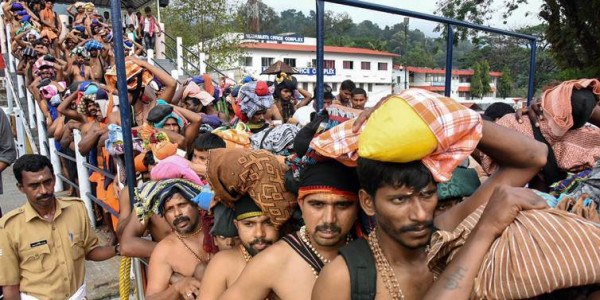 Heavy crowd at Sabarimala shrine, CM Vijayan and Congress trade barbs