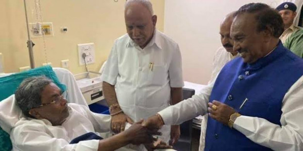 Yediyurappa Visits Siddaramaiah in Hospital