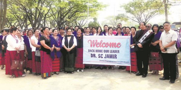 Five-time chief minister of Nagaland Dr. S.C. Jamir landed at Dimapur Airport