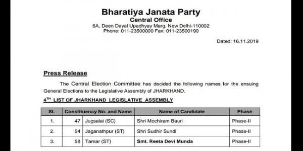 BJP ने जारी की तीन उम्मीदवारों की अपनी चौथी लिस्ट