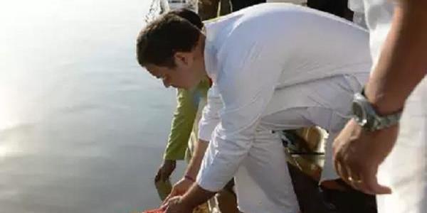 राहुल गांधी की नर्मदा आरती पर BJP का हमला, कहा- वोट जुटाने के लिए अपनाया पैंतरा